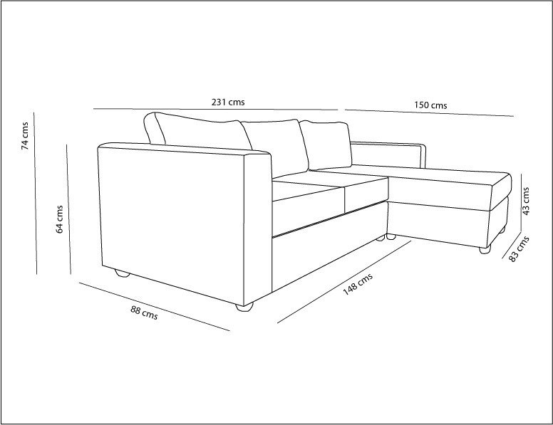 sof seccional m naco chaise longue derecho bariloche On medidas de sofas modernos