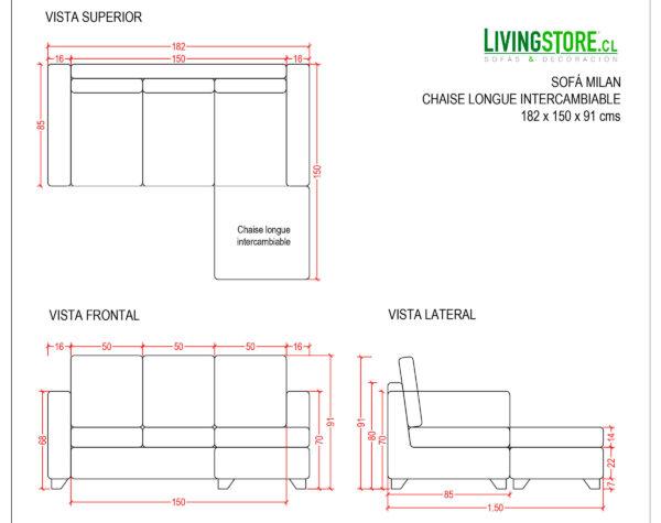 Sofa 3 Cuerpos Milan Chaise Longue Intercambiable Bariloche Chocolate planimetria