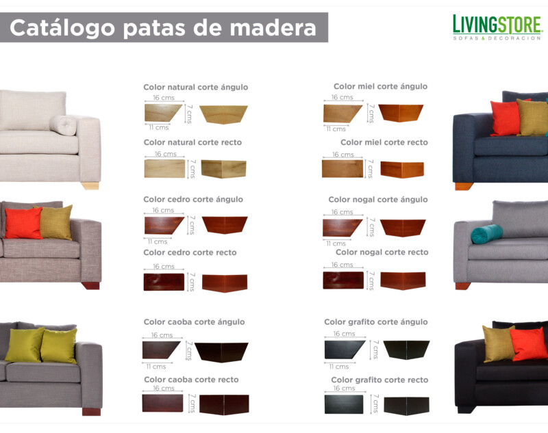 patas de madera para sofa y sillon
