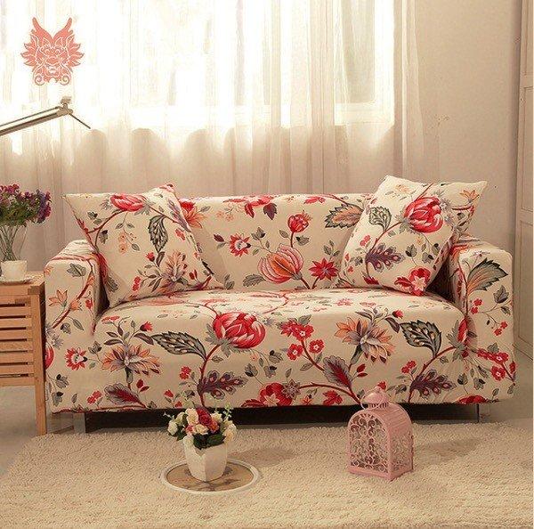 sofa tela con diseno floral