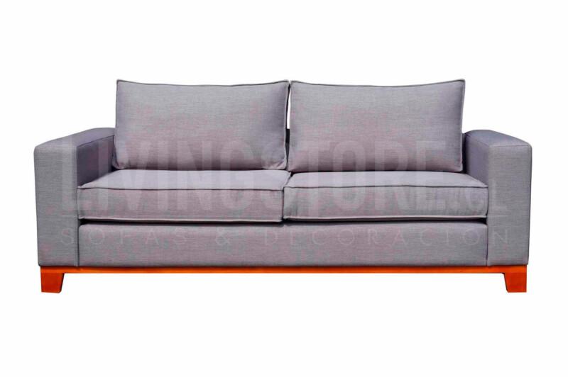 Sofá 2 Cuerpos tapiz tucumán gris con zócalo madera