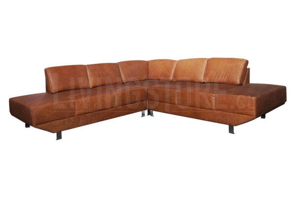 Sofa Seccional cuero natural con pata metalica