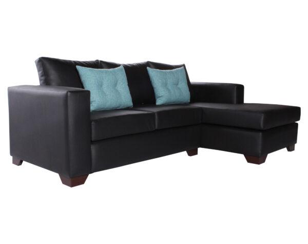 Sofa Seccional Derecho Monaco Cuero Sintetico PU Pana iso