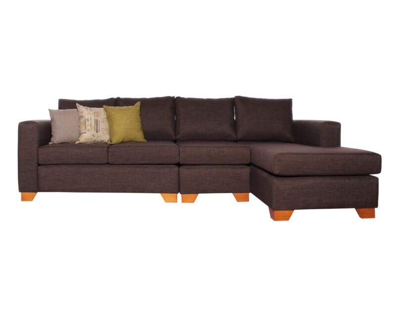 Sofa Seccional Monaco Chaise Longue Derecho Bariloche chocolate con Butaca