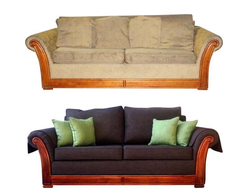 Retapizado de antiguo sofá con restauración de maderas