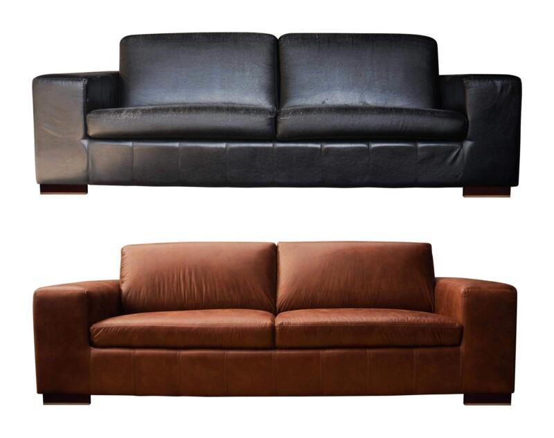 Retapizado de sofá 3 cuerpos cuero sintético