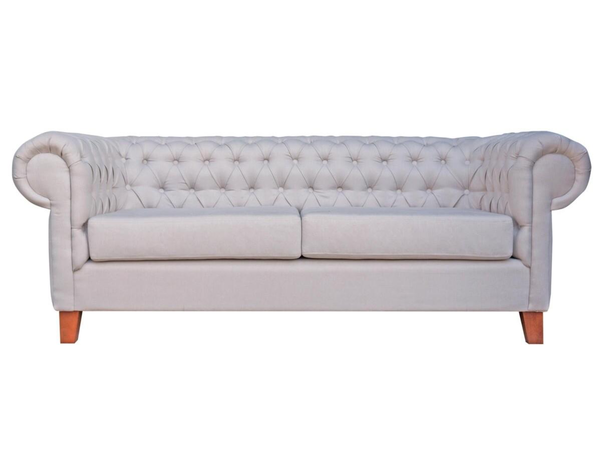 Elegante sof modelo chesterfield tapiz color perla y - Tapices para sofas ...
