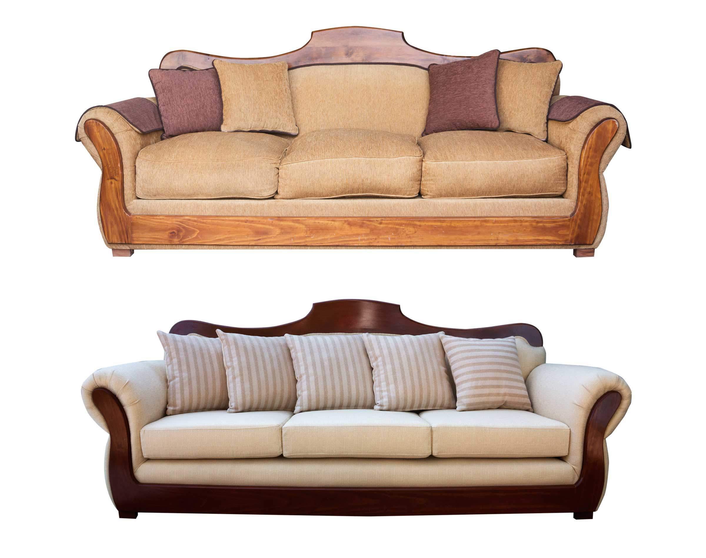 Retapizado de juego de living cl sico color marfil for Sofas de estilo clasico
