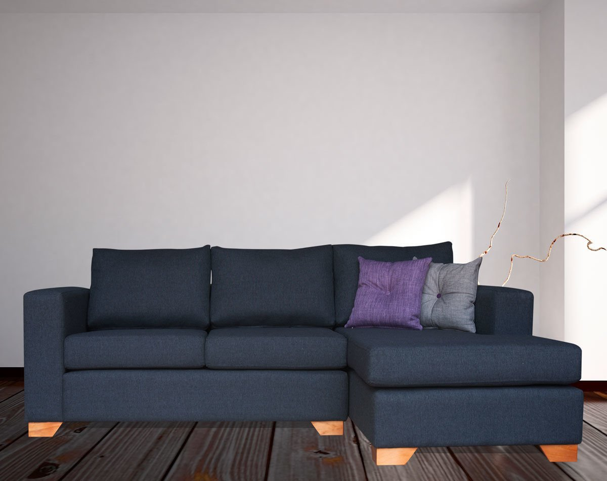 Sofá Seccional Mónaco Chaise Longue Derecho Tapiz XSD Color Grafito