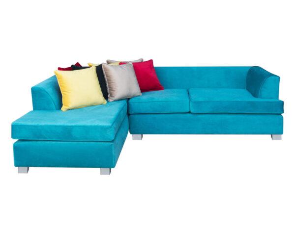 Retapizado de sofá seccional en tapiz felpa liso turquesa