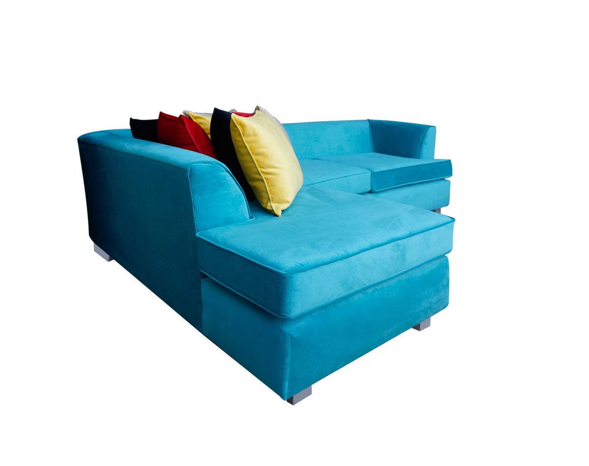 Retapizado de sofa seccional en tapiz felpa liso turquesa2