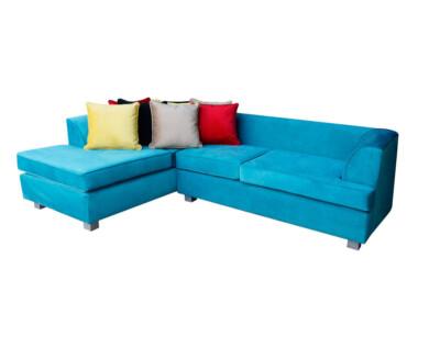 Retapizado de sofa seccional en tapiz felpa liso turquesa3
