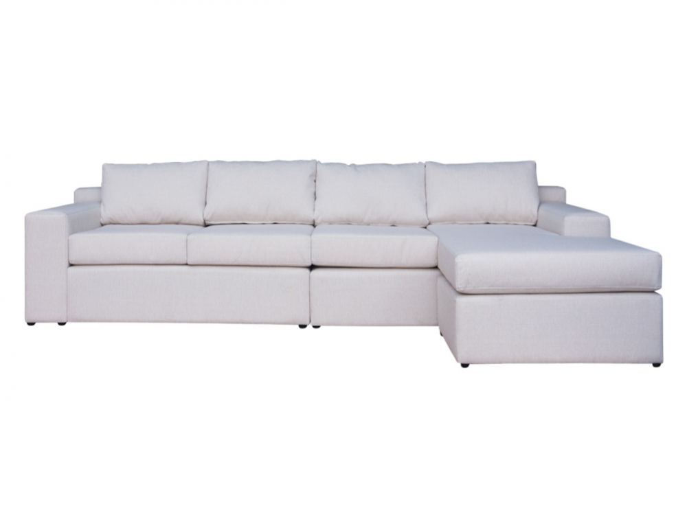 Sofá personalizado 4 cuerpos intercambiable tapiz beige
