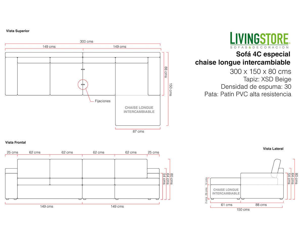 Sofa personalizado 4 cuerpos intercambiable tapiz beige planimetria
