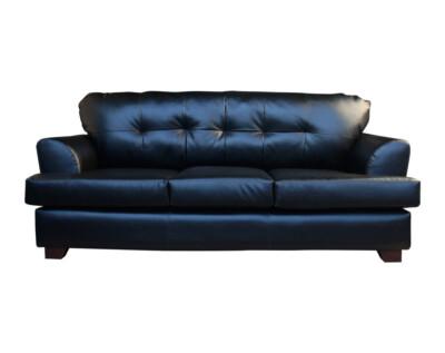 Retapizado de sofa en cuero sintetico negro