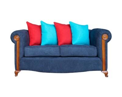 Retapizado de sofá 2 cuerpos tapiz Calafate azul