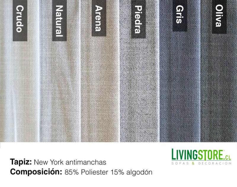 Tela New York Antimanchas colores arena, gris, crudo, oliva, natural y piedra