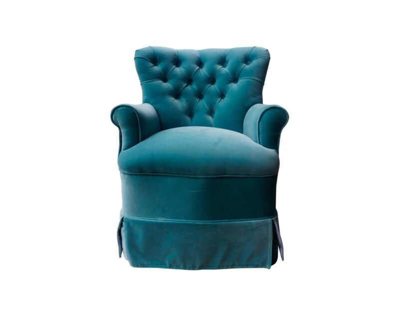 Retapizado de poltrona estilo clásico en tapiz Felpa turquesa