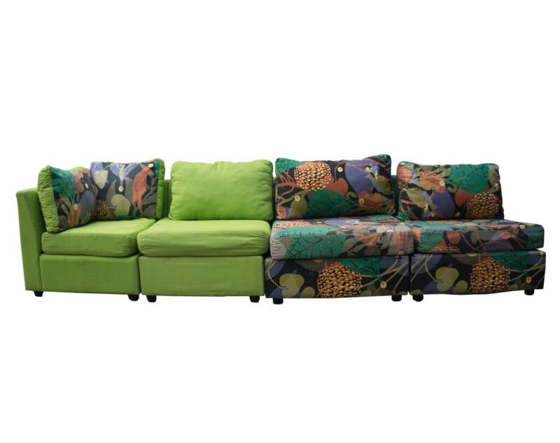 Retapizado de sofá modular en tapiz con mezcla de tapices ANTES
