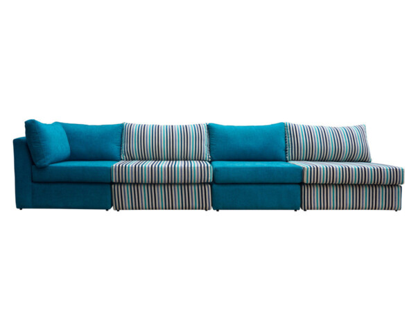 Retapizado de sofá modular en tapiz con mezcla de tapices