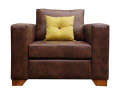 Sofá 1 cuerpo tapizado con cuero color café