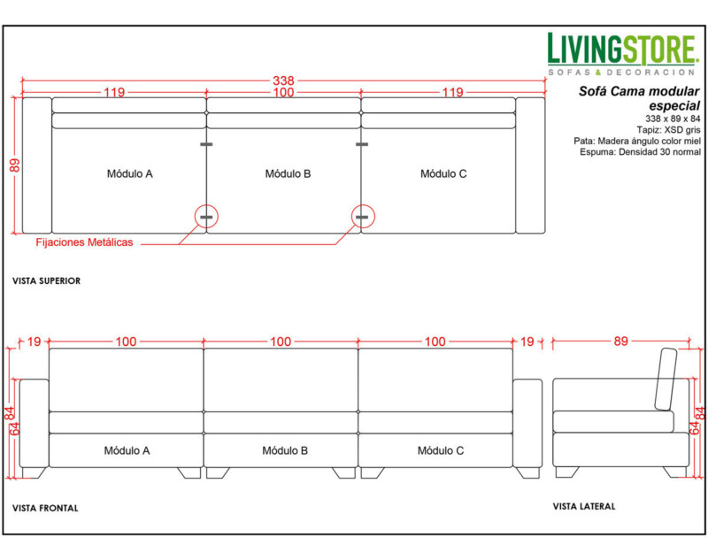 Planimetria Sofá cama modular especial diseño a la medida
