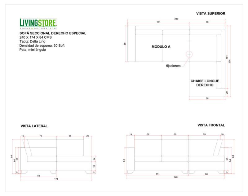 Sofá modular derecho delta lino planimetria