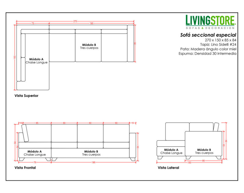 Planimetria de sofá seccional hecho a la medida