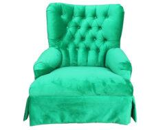 Bergere capitone retapizado en felpa art verde