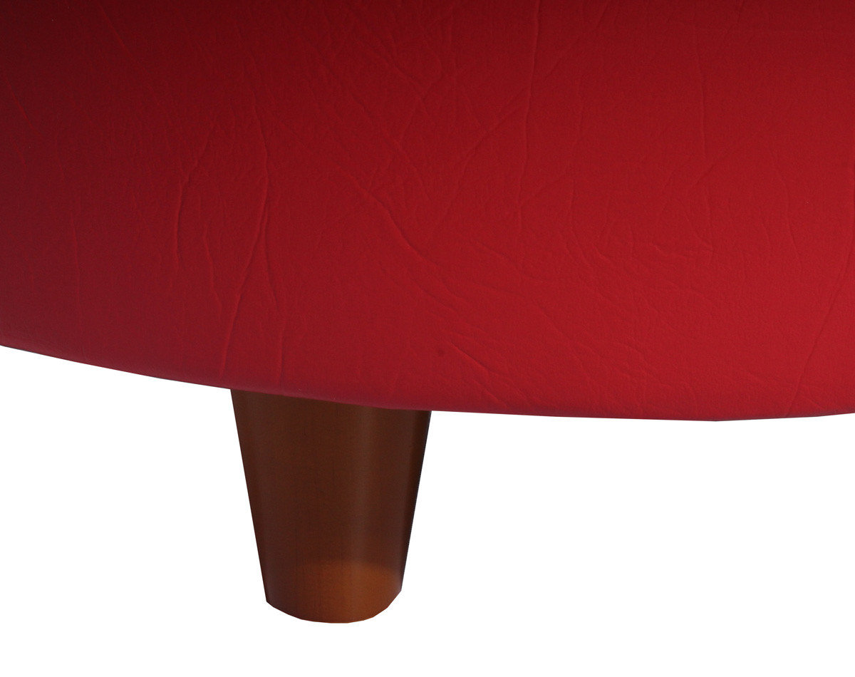 Pouf Grano Cuero PU Megalight Rojo patas de madera