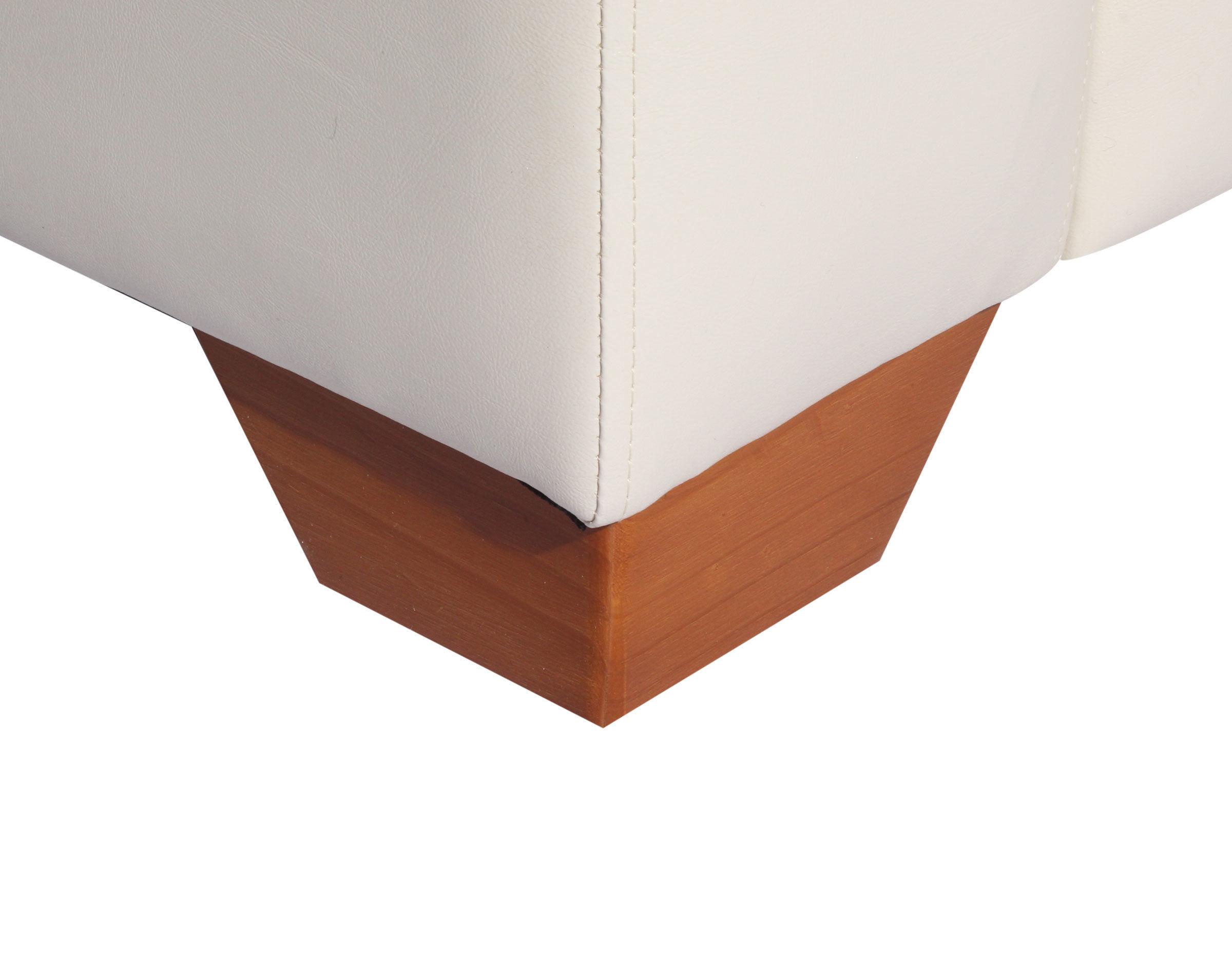 Sofa 2 cuerpos Monaco Cuero PU Clean Color Marfil Patas de Madera