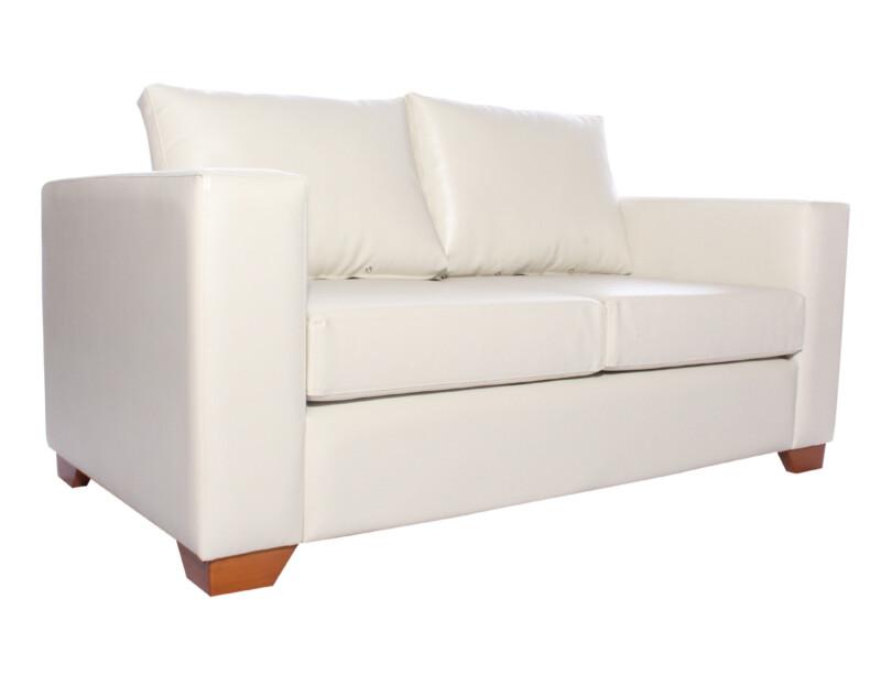 Sofa 2 cuerpos Monaco Cuero PU Clean Color Marfil iso