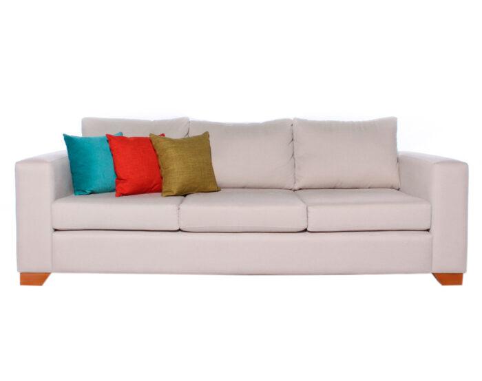 Sofa 3 Cuerpos Monaco Chenille Mecha Antimanchas White