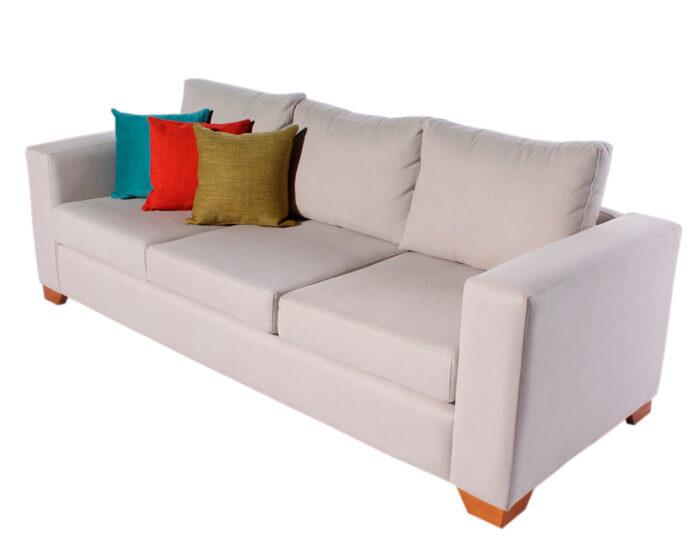 Sofa 3 Cuerpos Monaco Chenille Mecha Antimanchas White iso