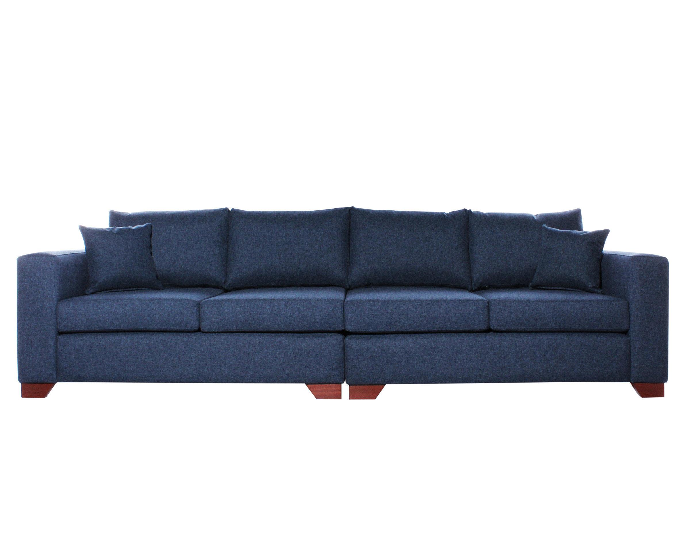 Sofa 4 Cuerpos Monaco XSD azul patas de madera color cedro