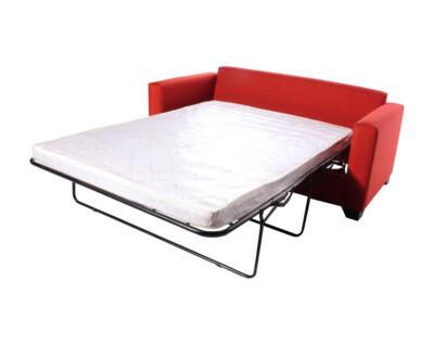 Sofá cama especial 3 cuerpos más pouf Bariloche naranjo
