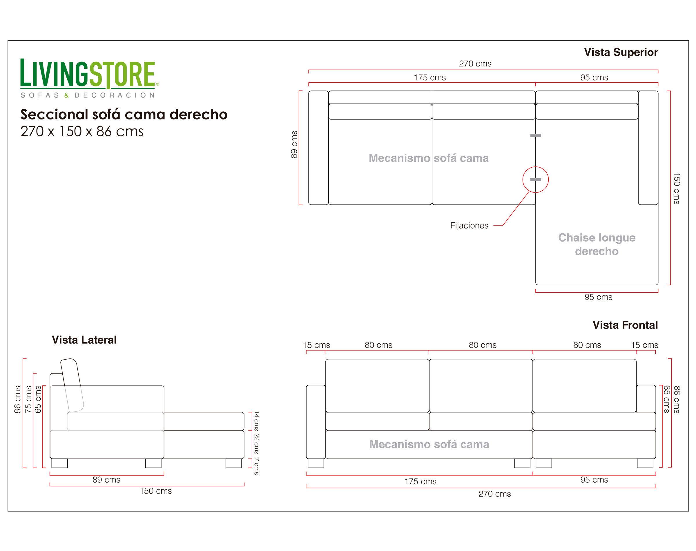 Sofá Cama Seccional Chaise Longue Derecho Bariloche Alto Tráfico Color Arena Planimetría