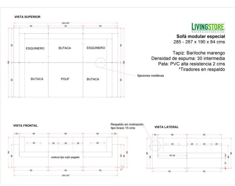 Sofa Modular Reconfigurable Con Pouf Bariloche Marengo planimetria