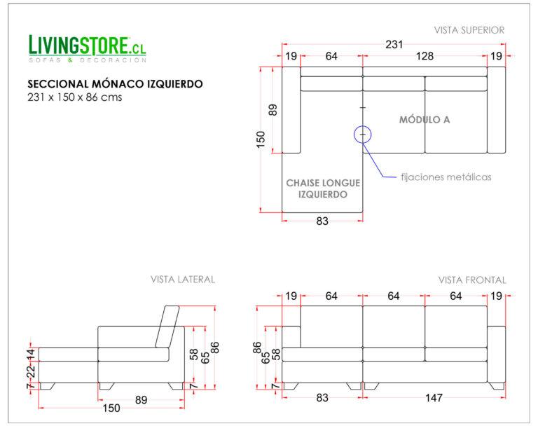 Sofa Seccional Monaco Izquierdo New York Antimanchas Crudo planimetria