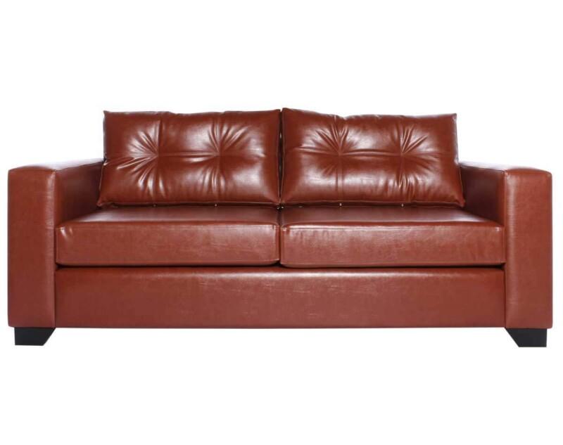 Sofá personalizado en cuero PU clean color habano