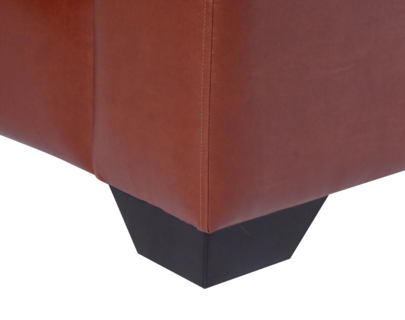 Sofá personalizado en cuero PU clean habano patas de madera