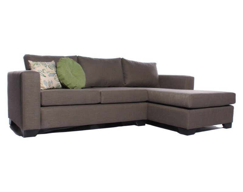 Sofá Seccional Chaise Longue Derecho New York Antimanchas Oliva Medida Especial Lateral
