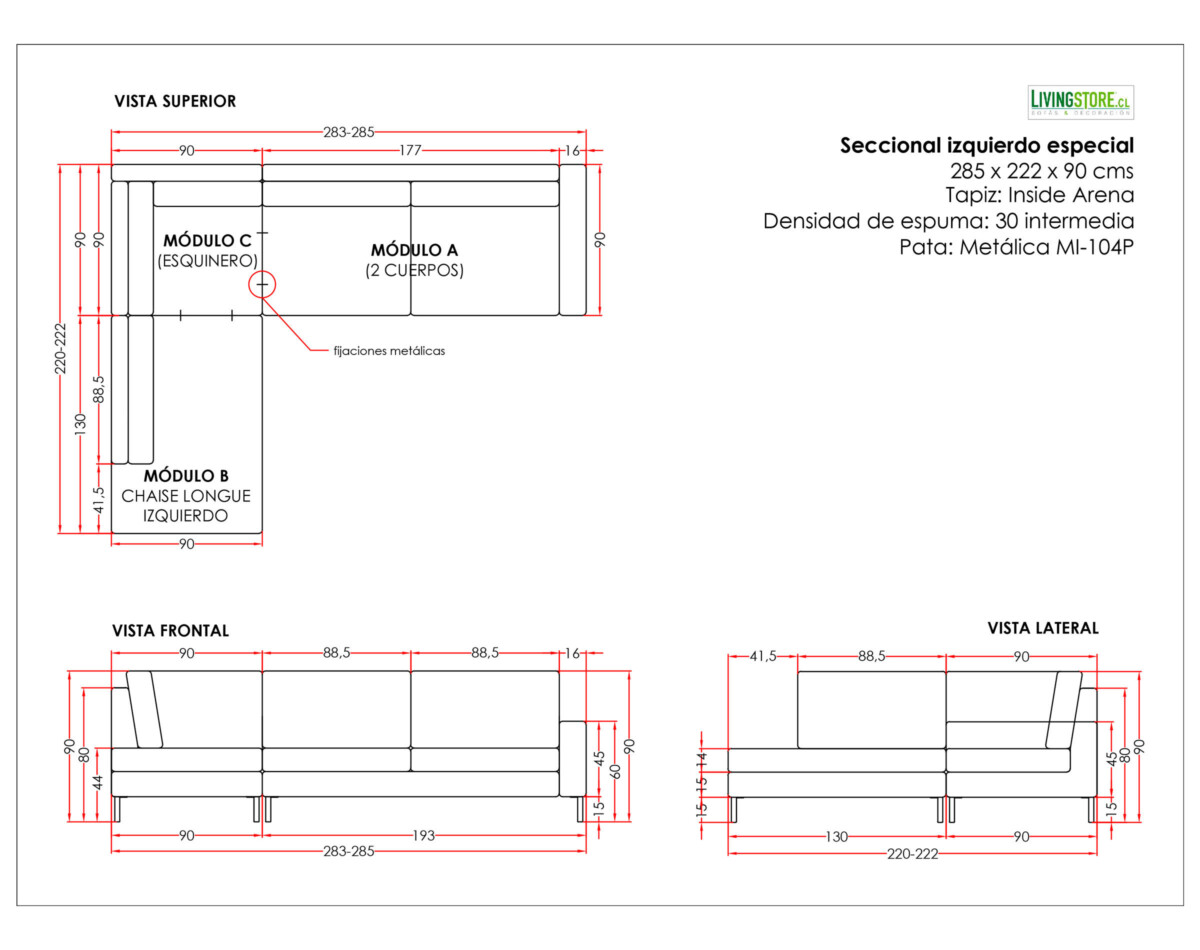 Sofa Seccional Izquierdo Especial Inside Arena Planimetria