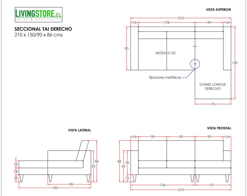 Sofa Seccional Tai Derecho XSD Alto Trafico Marengo planimetria
