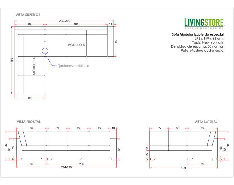 Sofá modular izquierdo personalizado planimetria
