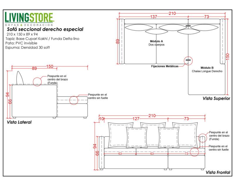 Planimetria de sofá seccional