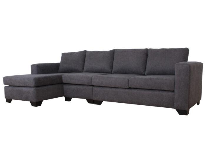Sofa Seccional Monaco Izquierdo con Butaca Mecha Gris iso