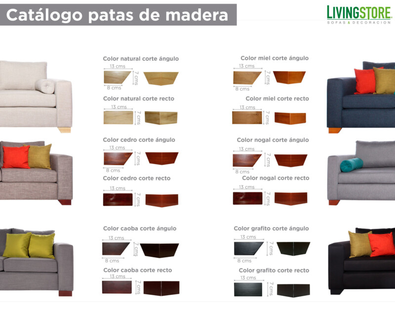 catálogo patas de madera para poltronas sofas sillones