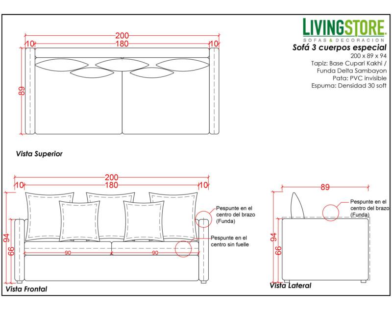 planimetria de sofá tres cuerpos