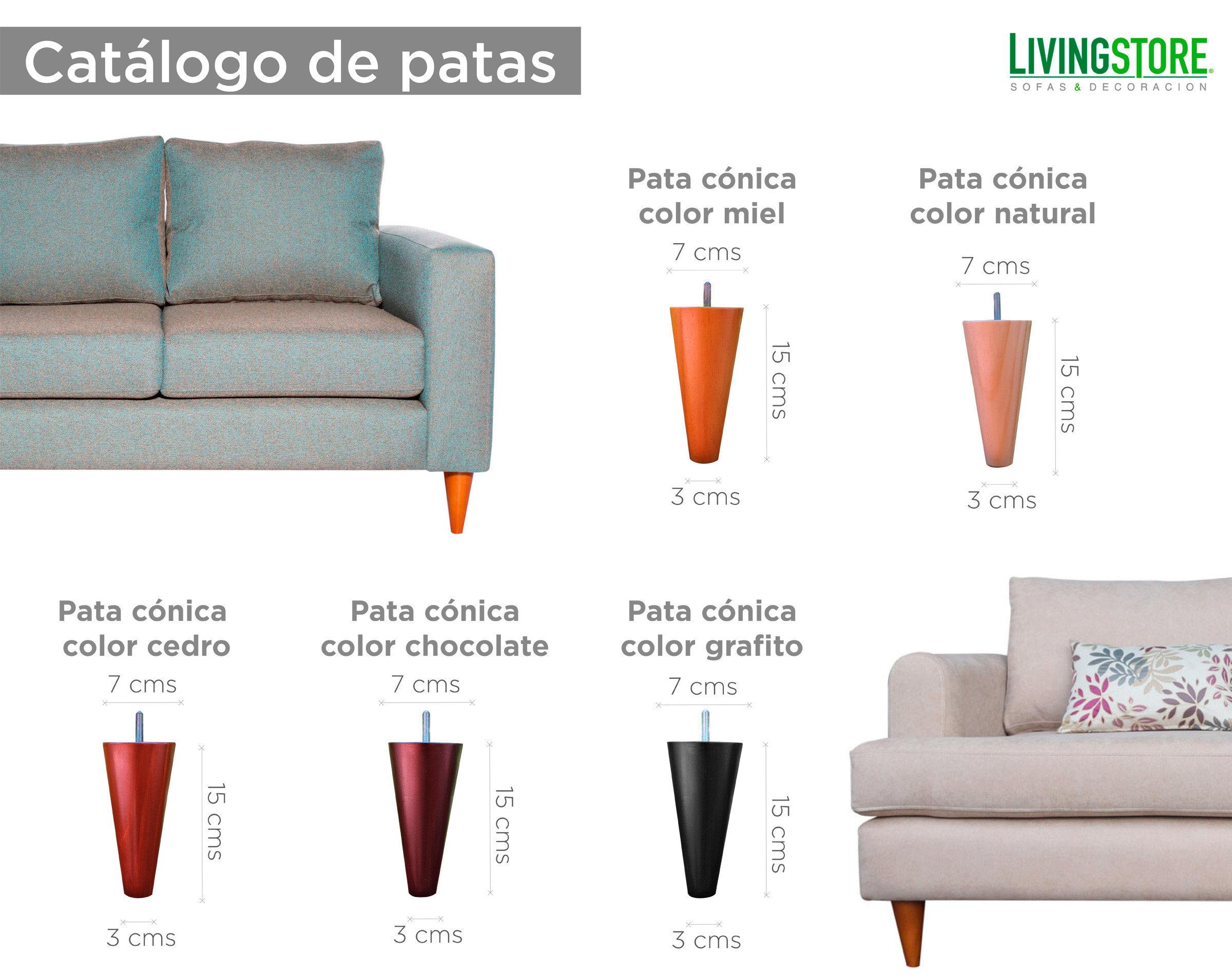 Catalogo patas conicas para sofa